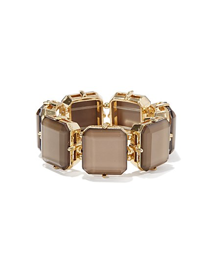 Grey Faceted Squares Stretch Bracelet  - New York & Company