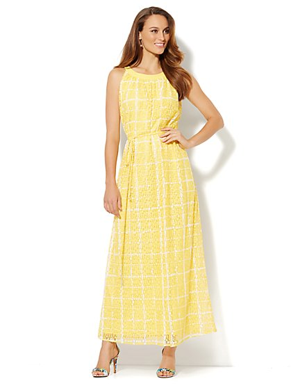 Grid-Print Lace Maxi Dress - New York & Company