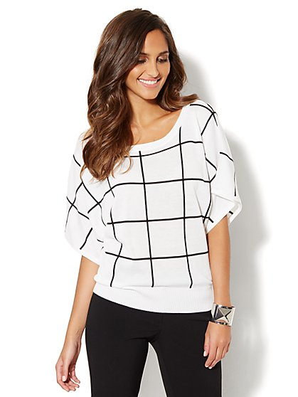 Grid-Stitch Dolman-Sleeve Sweater - New York & Company