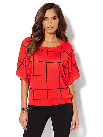 Grid-Stitch Dolman-Sleeve Sweater - New York & Company