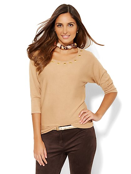 Grommet-Trim Sweater  - New York & Company
