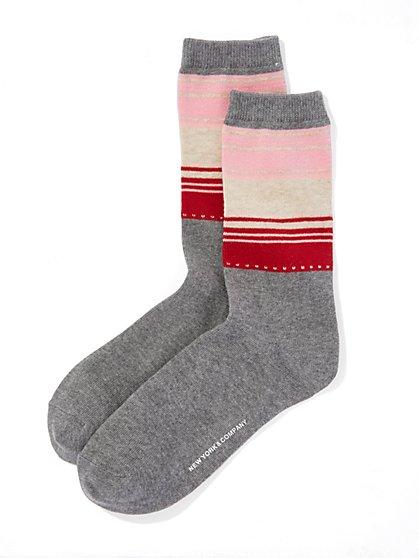 Half-Stripe Crew Sock  - New York & Company