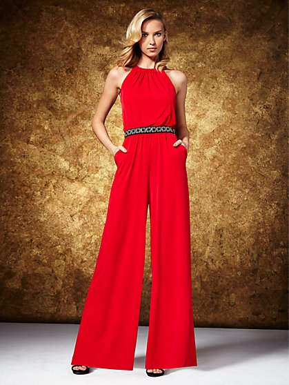 Halter Jumpsuit - Red - New York & Company