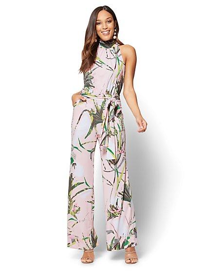 Halter Jumpsuit - Tropical Print - New York & Company