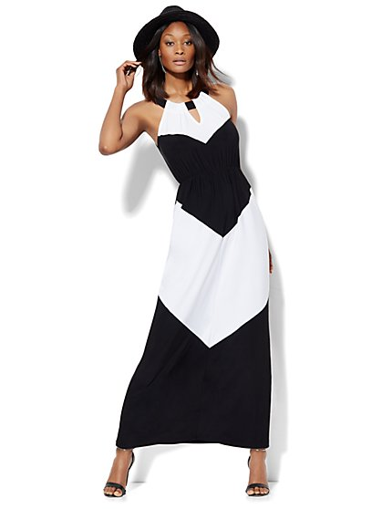 Halter Maxi Dress - Black & White Colorblock  - New York & Company