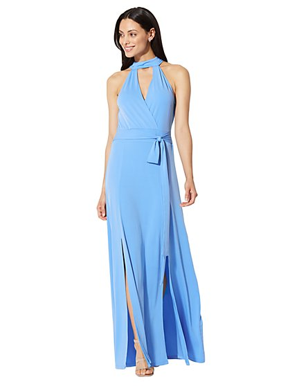 Halter Maxi Dress - Blue - New York & Company