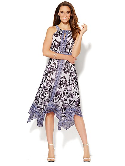Halter Sharkbite-Hem Dress - Ikat Print  - New York & Company