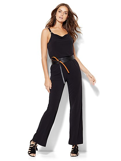Hardware-Accent Draped Jumpsuit - Black - Petite  - New York & Company
