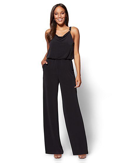 Hardware-Accent Draped Jumpsuit - Black - New York & Company