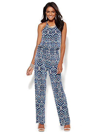 Hardware-Accent Halter Jumpsuit - Ikat Print - New York & Company