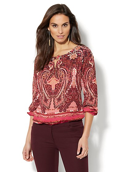 Hardware-Accent Keyhole Blouse - Print - New York & Company