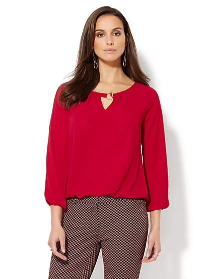 Hardware-Accent Keyhole Blouse - New York & Company
