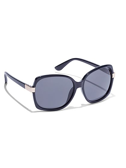 Hardware-Accent Square Frame Sunglasses  - New York & Company