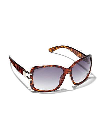 Hardware-Accent Tortoise Wrap Sunglasses - New York & Company