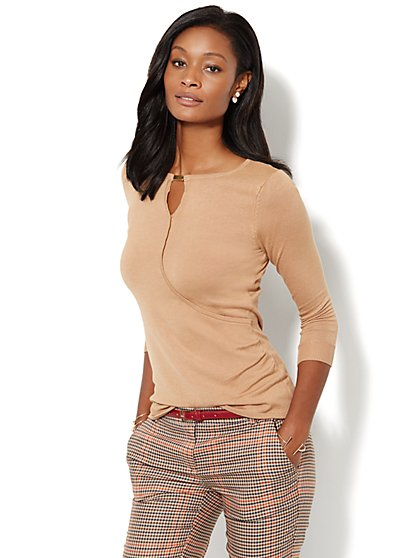 Hardware-Accent Wrap Sweater  - New York & Company