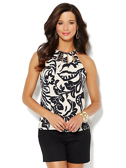 Hardware-Trim Halter Top - Floral Print  - New York & Company