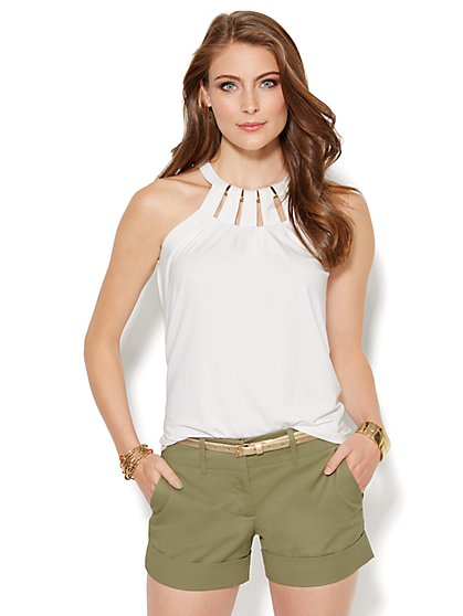 Hardware-Trim Halter Top - Paper White - New York & Company