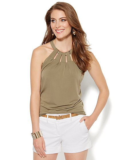Hardware-Trim Halter Top - New York & Company