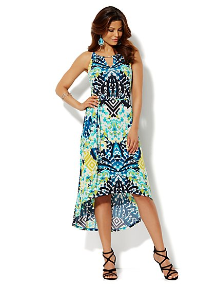 Hardware-Trim Hi-Lo Halter Dress - Floral - Petite - New York & Company