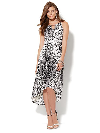 Hardware-Trim Hi-Lo Halter Dress - Snake Print - New York & Company