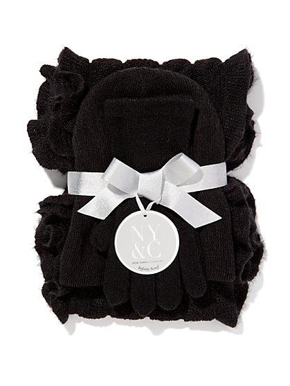 Hat, Gloves & Ruffle Scarf Gift Set  - New York & Company