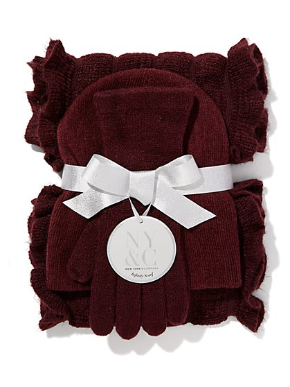 Hat, Gloves & Ruffle Scarf Gift Set  - New York & Company