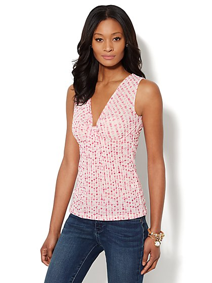 Heart-Print Mesh Twist-Front Shell  - New York & Company