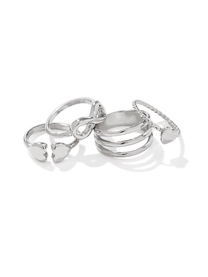 Hearts & Inifinity Knuckle Ring Set - New York & Company