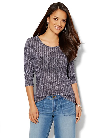 Heathered Ribbed-Knit Tee  - New York & Company