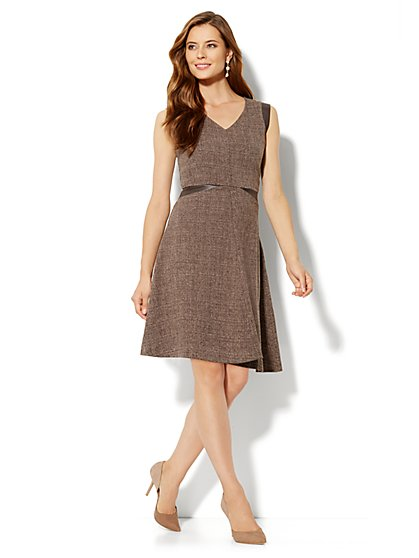 Heritage Tweed Flare Dress - New York & Company