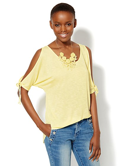 Hi-Lo Cold-Shoulder Top  - New York & Company