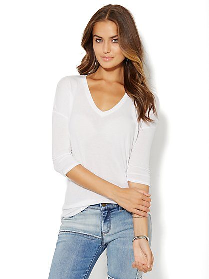 Hi-Lo Drop-Shoulder Tunic  - New York & Company