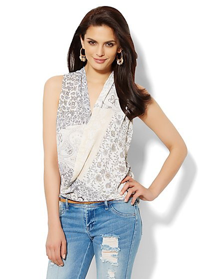 Hi-Lo Faux Wrap Blouse   - New York & Company