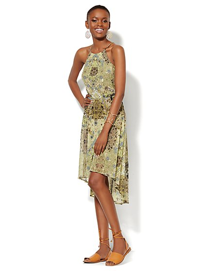 Hi-Lo Floral Halter Dress  - New York & Company