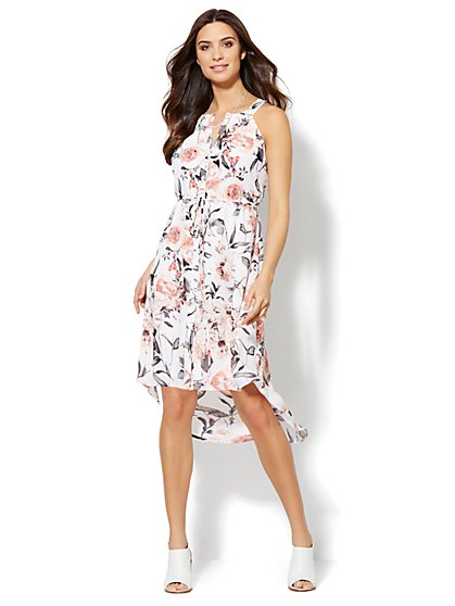 Hi-Lo Halter Dress - Botanical Print  - New York & Company