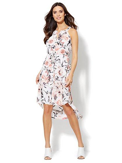 Hi-Lo Halter Dress - Botanical Print  - New York & Company