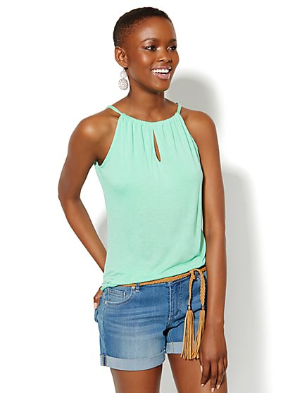 Hi-Lo Halter Top - Solid  - New York & Company