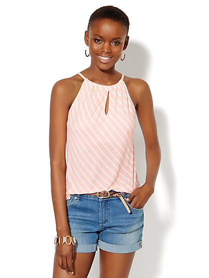 Hi-Lo Halter Top - Striped  - New York & Company