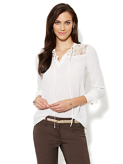 Hi-Lo Lace Panel Blouse  - New York & Company
