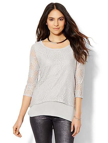 Hi-Lo Lace Top  - New York & Company