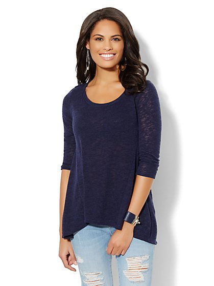 Hi-Lo Light-Knit Scoopneck Top - New York & Company