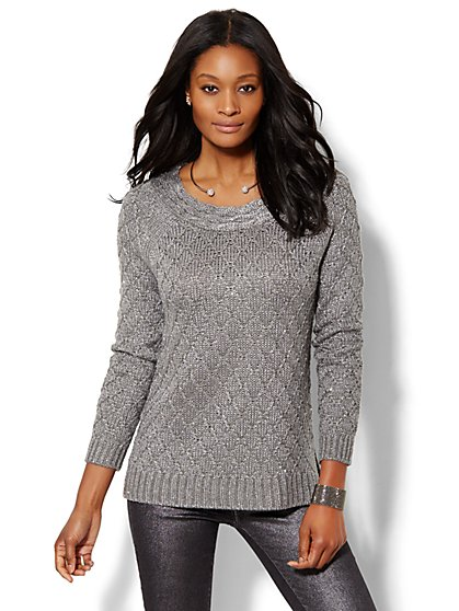 Hi-Lo Lurex-Stitch Sweater  - New York & Company
