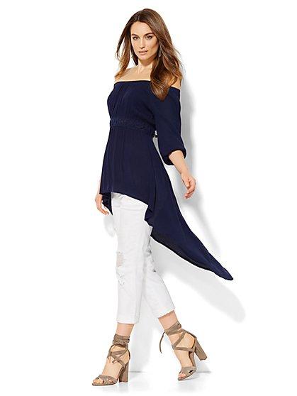 Hi-Lo Off-the-Shoulder Peasant Blouse  - New York & Company