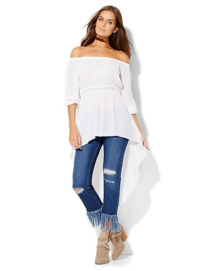 Hi-Lo Off-the-Shoulder Peasant Blouse - New York & Company