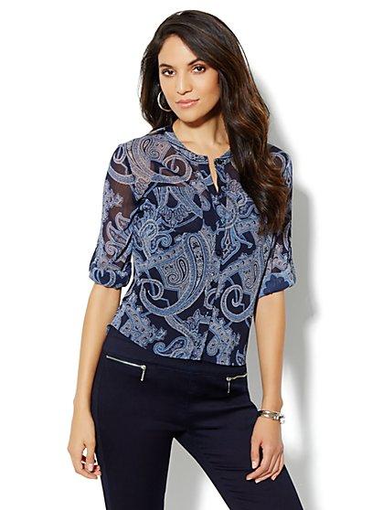 Hi-Lo Paisley-Print Shirt - New York & Company