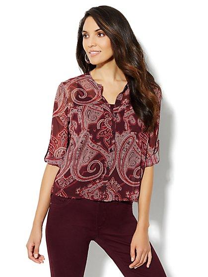 Hi-Lo Paisley-Print Shirt