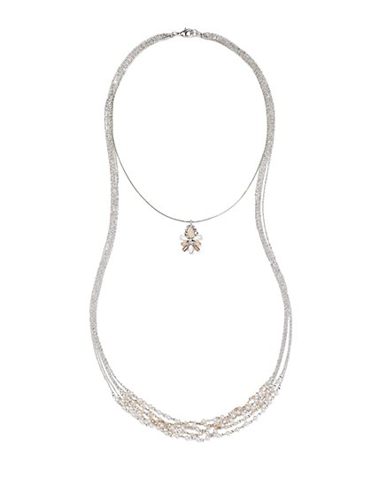 Hi-Lo Pearl & Pendant Necklace  - New York & Company