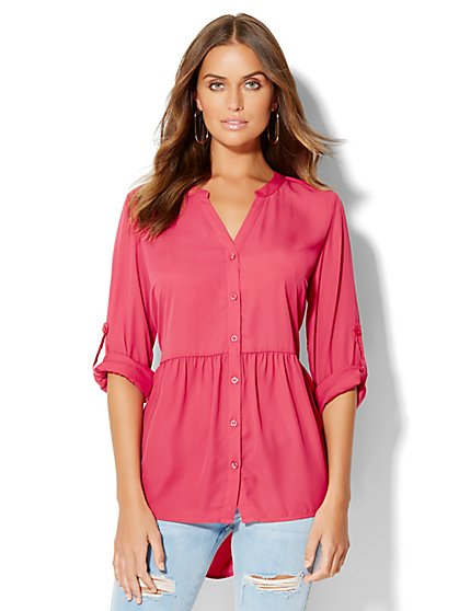 Hi-Lo Peplum Blouse  - New York & Company