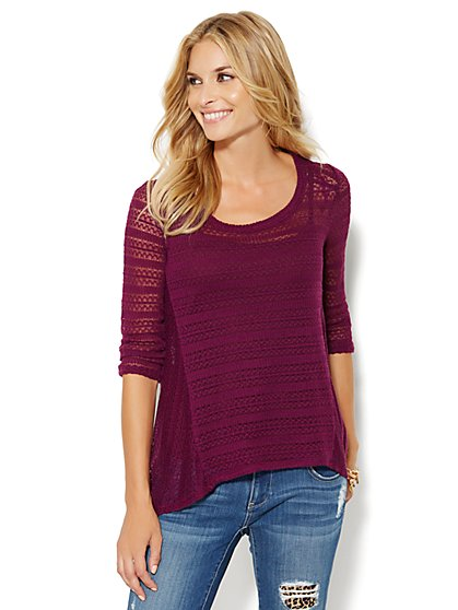 Hi-Lo Pointelle-Knit Top - New York & Company
