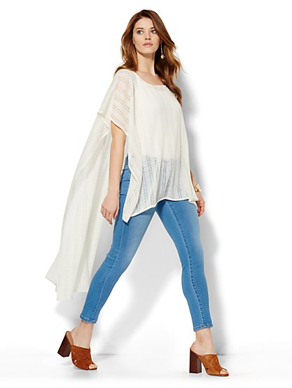 Hi-Lo Poncho - Optic White   - New York & Company